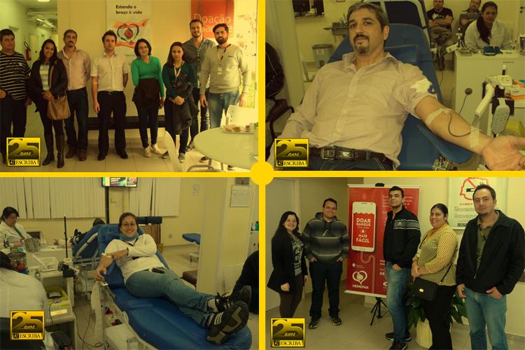 Colaboradores participam de campanha de doação de sangue no Hemepar
